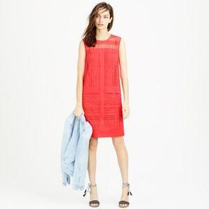 [J. Crew] sleeveless geo-lace red shift dress